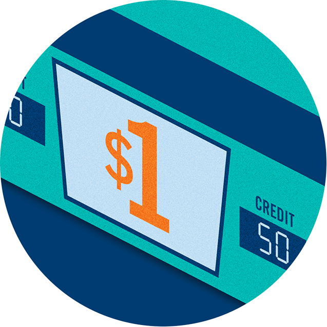 $1 machine displaying a value of 50 credits