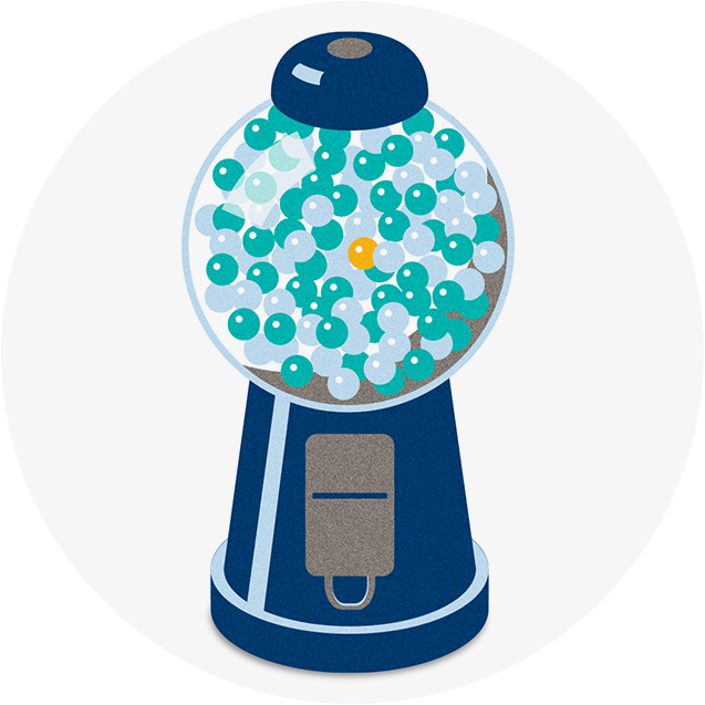 Gumball machine showing a single orange gumball among blue and green ones