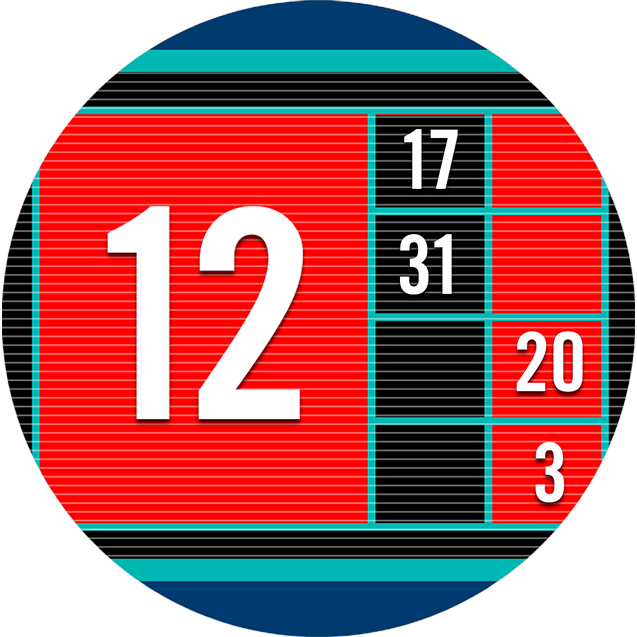 A tote board screen displays the most recent winning roulette numbers