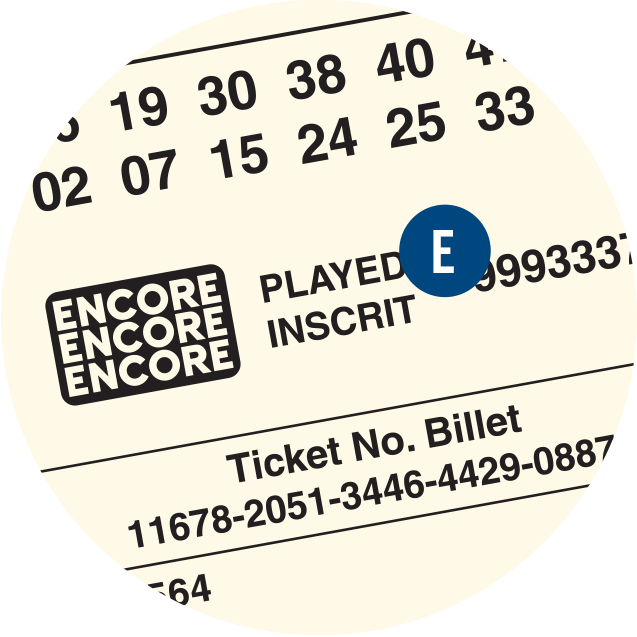 A LOTTO MAX ticket. E is over the Encore number.
