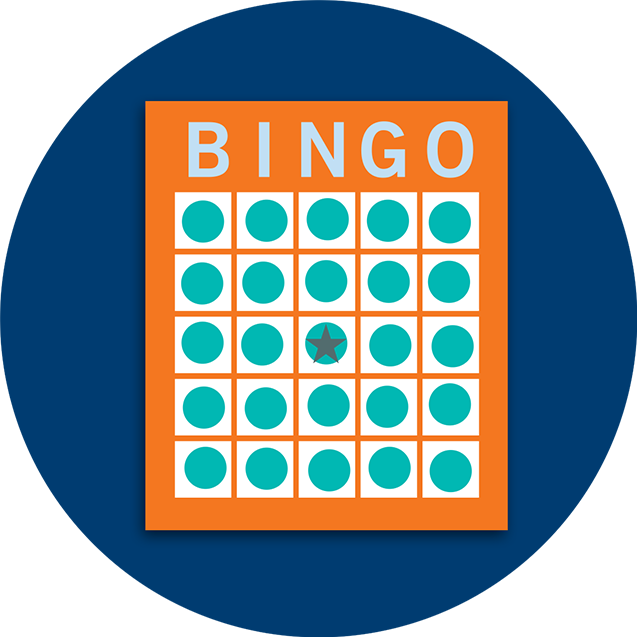 A Bingo card pattern showing all spaces covered.