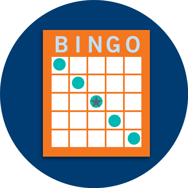 A Bingo card pattern showing a diagonal line.