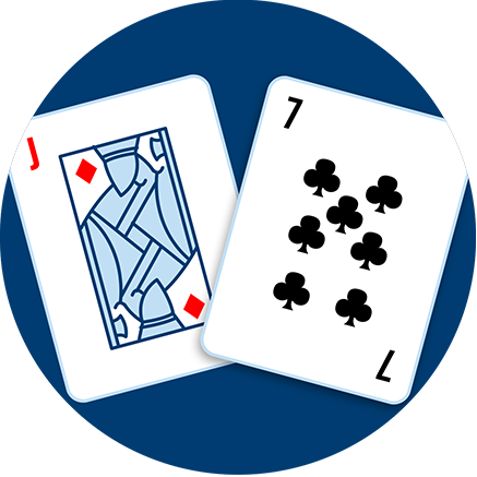 A Jack of diamonds and a seven of clubs