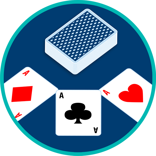 Three aces and a deck of cards.