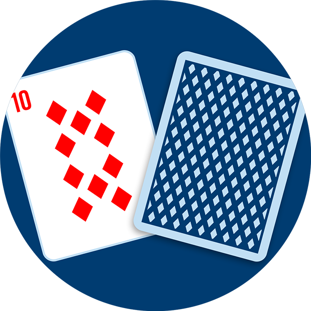 A ten of diamonds next to a card face-down