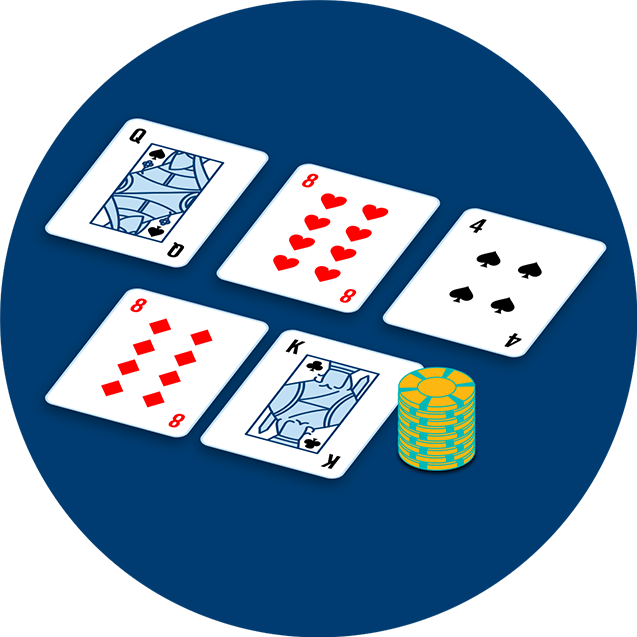 A Queen of spades, eight of hearts, four of spades on one side of a table and an eight of diamonds next to a King of spades and a stack of chips