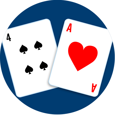 A four of spades and an Ace of hearts