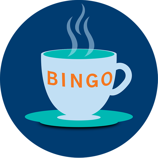 A cup sitting in a saucer, filled with a hot beverage and imprinted with the word Bingo.