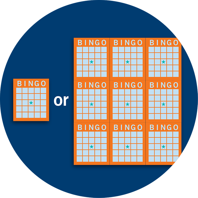 A single Bingo card and a book of 9 Bingo cards.