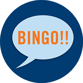 "A speech bubble showing ""BINGO!!"""