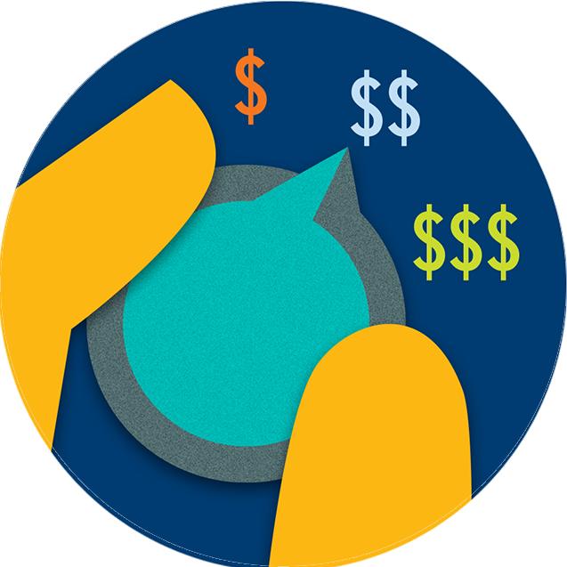Main tournant un bouton indiquant différents niveaux de paiement