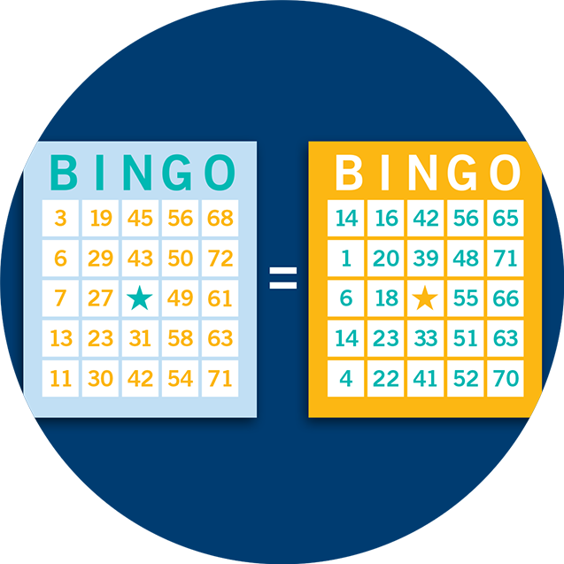 Two Bingo cards with an equal symbol between them.