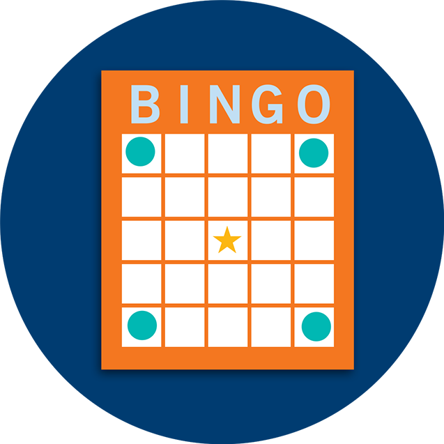 A Bingo card pattern showing four corners.