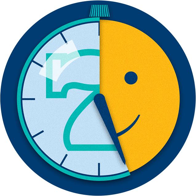 一个在转动的时钟,随着时针的走动揭示出玩的时间越长,你的乐趣就越多