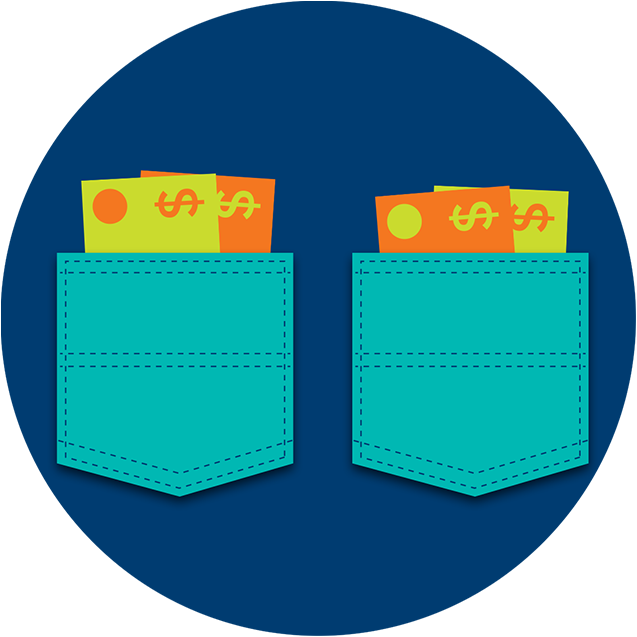 Two pockets holding cash - one containing slightly more money than the other.