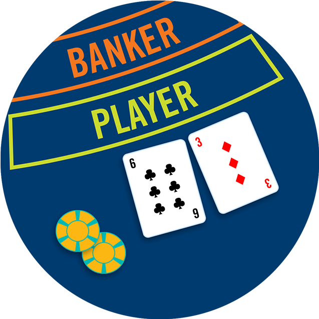Two chips and two cards, a 6 of clubs and a 3 of diamonds, below the Banker and Player betting areas.