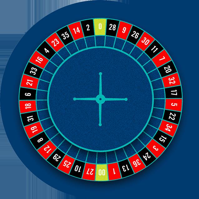 Roue de roulette américaine de 38 cases numérotées, y compris 0 et 00