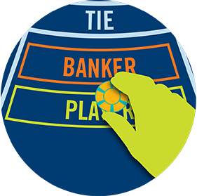 Placing a chip on the Player area of the three betting areas: Tie, Banker, and Player