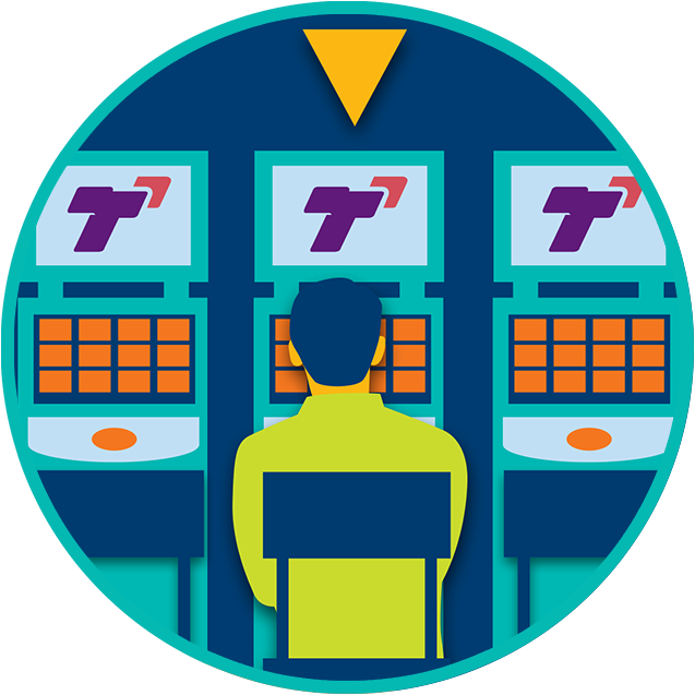 A yellow arrow points to the TapTix machine where a player sits in the middle of a row of three TapTix machines.