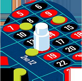 Le croupier balaie les jetons perdants, paie les mises gagnantes et retire le morceau de plastique transparent appelé «dolly»