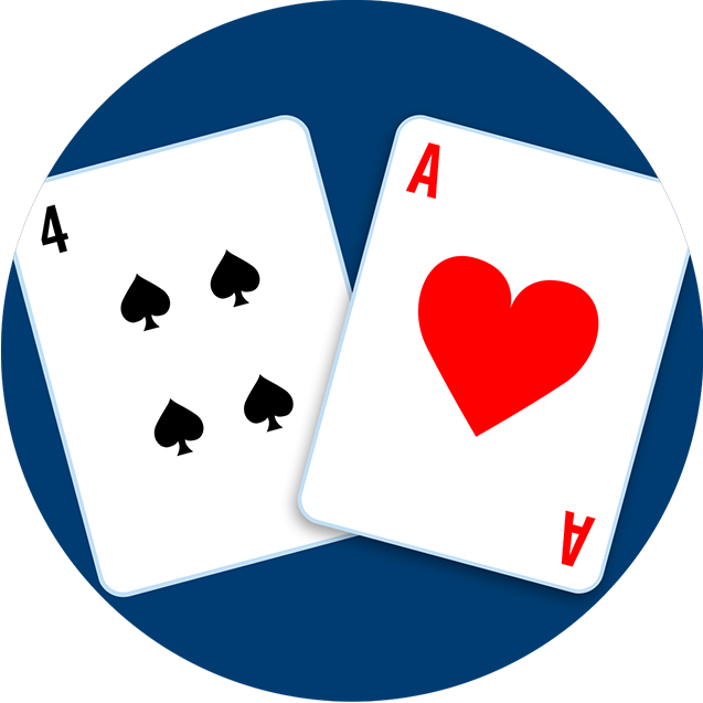 A four of clubs and an Ace of hearts.