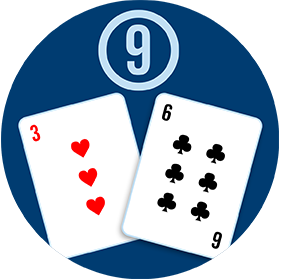 Two cards: A 3 of hearts and a 6 of clubs, with a circled number 9 above them.