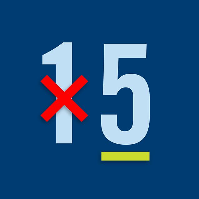 Nombre «15»avecle « 1 » barré et le « 5 » souligné.