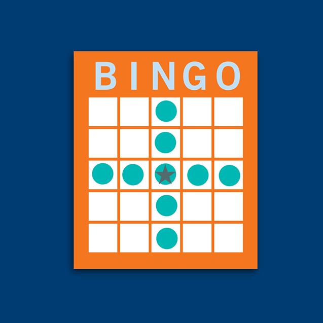 Carte de bingo montrant une combinaison en croix au centre.