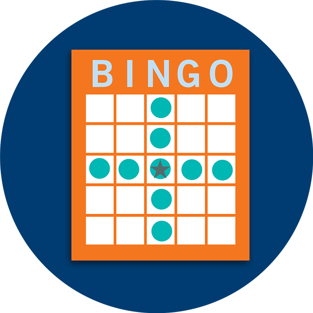 A Bingo card pattern showing a centered cross.