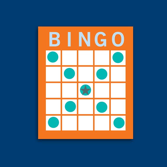 Carte de bingo montrant une combinaison en grand « X »