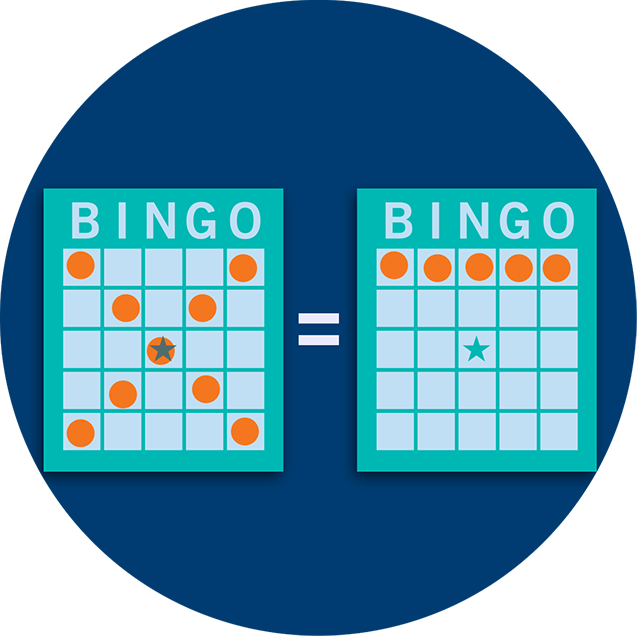 An X pattern bingo card equals a horizontal bingo card