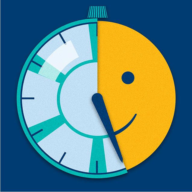 一个计时器在倒计时,然后露出一张微笑的脸
