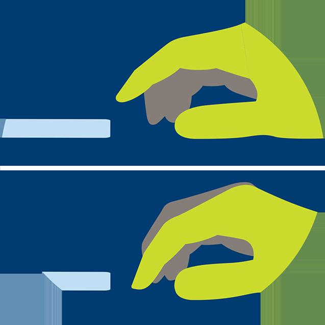 一只手在演示轻点的动作,以在21点中示意要有行动