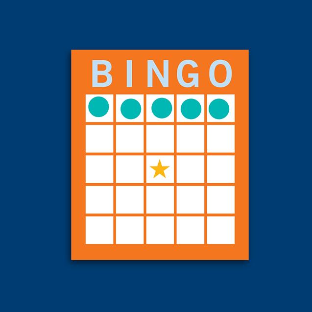 Carte de bingo montrant une combinaison en rangée horizontale.