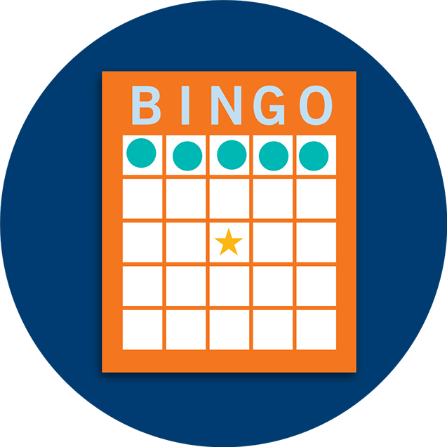 A Bingo card pattern showing a horizontal line.
