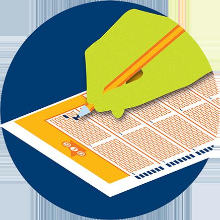 Crayon utilisé pour sélectionner le type de jeu de loterie sur une fiche de sélection