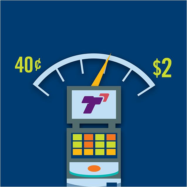 Un instrument de mesure au-dessus d'une machine TapTix montrant des montants qui varient de 0,40 $ à 2 $.
