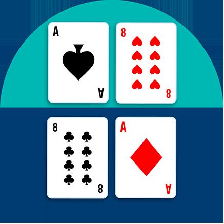 一张桌子被分为上下两边,上边桌上有一张黑桃A和一张红桃8;下边桌上有一张梅花8和一张方块A