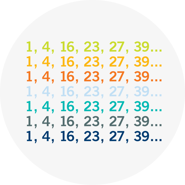 The same set of 6 numbers repeated 7 times but in different colours.
