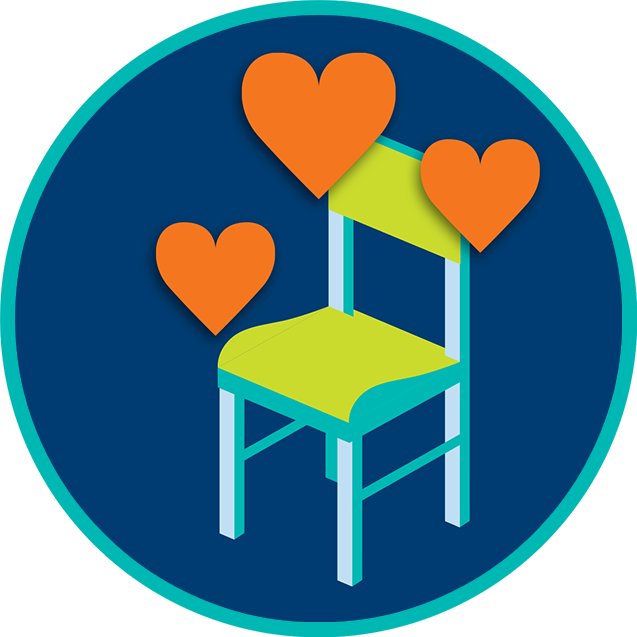Hearts over a chair.