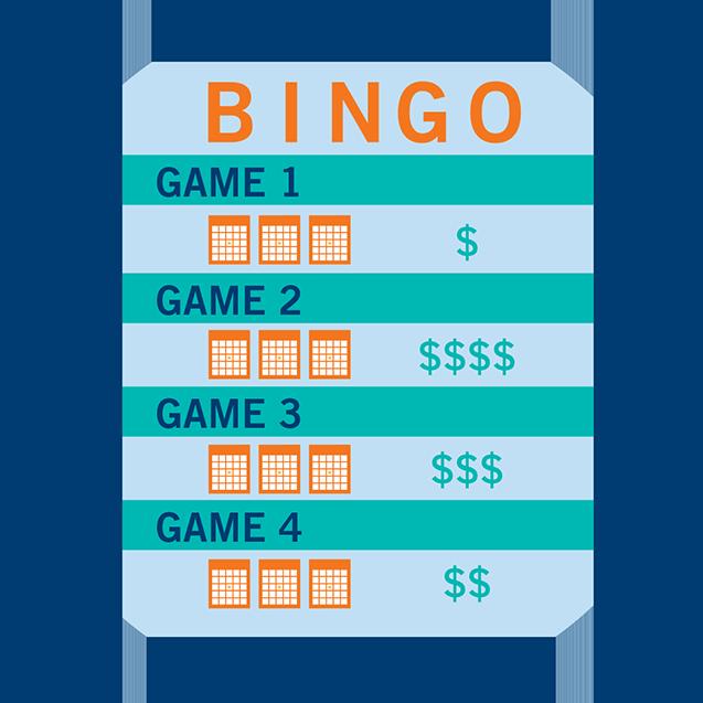 一张宾果节目场次表显示出每场游戏和用金钱符号标注的奖项级别