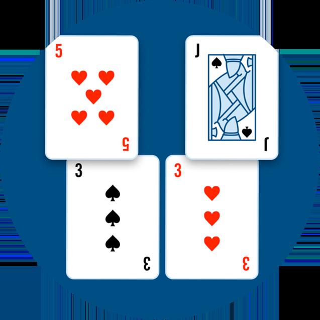 Deux mains: l'une composée d'un 3 de pique et d'un 5de cœur, et l'autred'un 3 de cœur et d'un valet de pique.