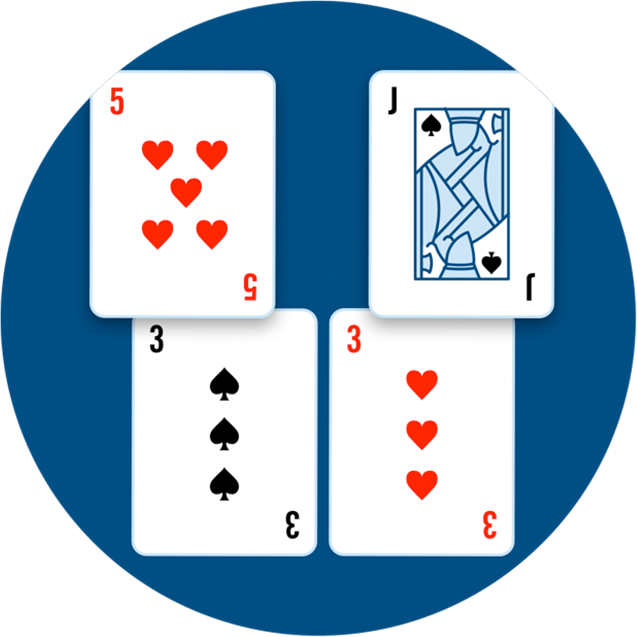 Two sets of cards: one with a 3 of spades and a 5 of hearts; the other with a 3 of hearts and a Jack of spades.