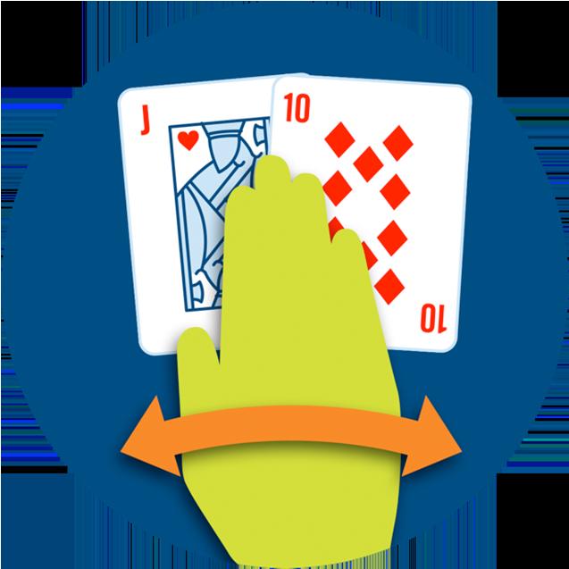Une main qui passe au-dessus de deux cartes.