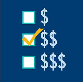用金錢符號的多少表示不同的支出等級,在中間級別有兩個加幣符號,在此級別前打勾