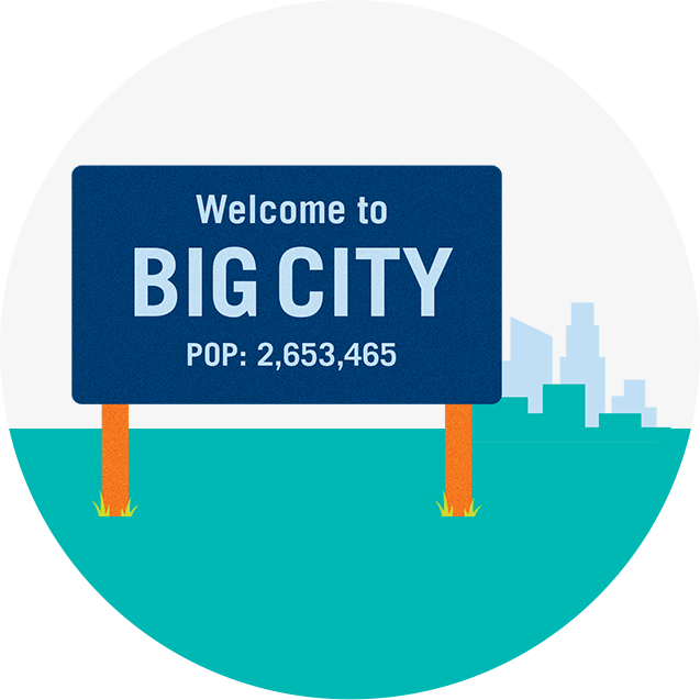 "A road sign that reads, ""Welcome to BIG CITY, population 2,653,456""."