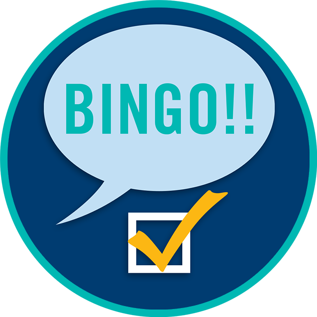"A speech bubble saying ""BINGO!!"" with a check mark below it."