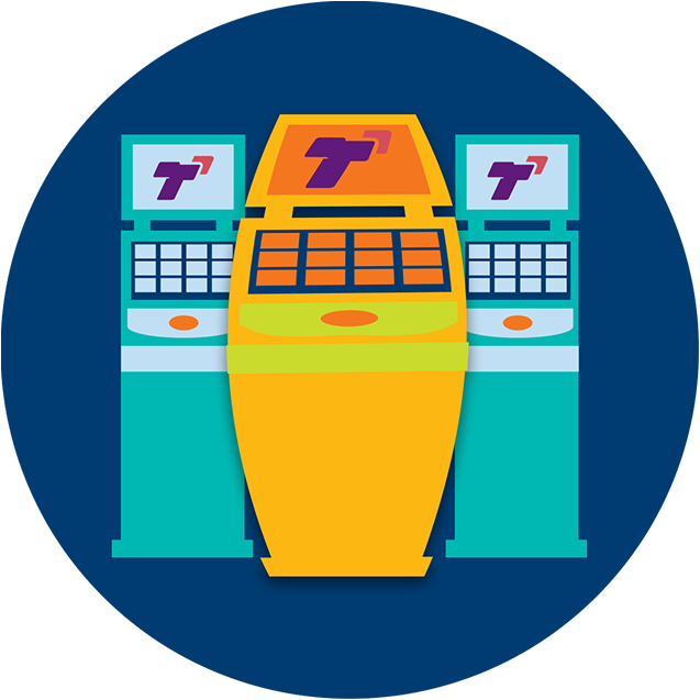Deux machines TapTix de taille normale se trouvent de part et d'autre d'une machine TapTix dont le centre se gonfle.