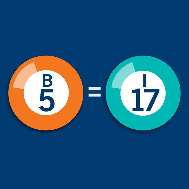 Numéros de bingo B5 et I17 avec un symbole « égal » entre eux.
