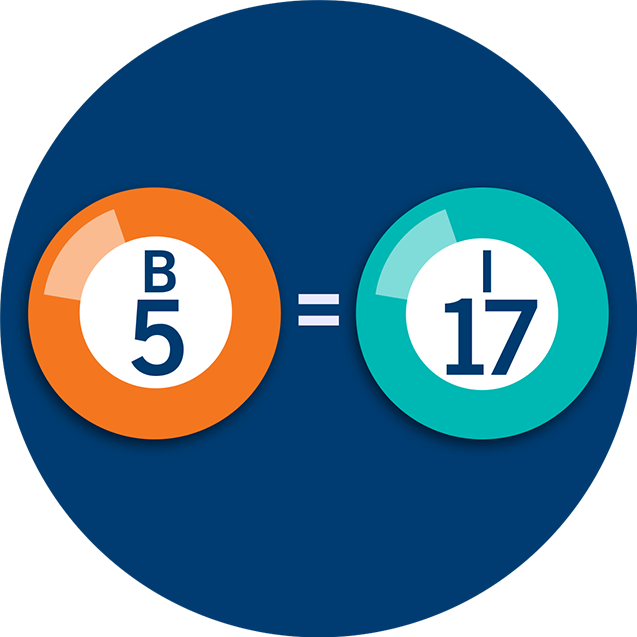 Two Bingo numbers, B5 and I17, with an equal symbol between them.